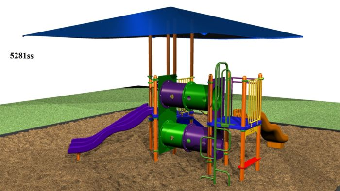 Our sunshade playground has eight play events!