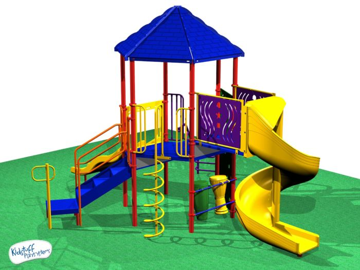 This dynamic playset has a spiral slide, a coil climber, and climbing wall!