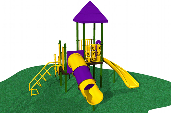 This playground has an arch climber, a turn slide, and more and accommodates 14 children!
