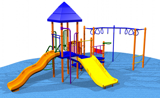 This large playset can accommodate up to 24 children and has a fire pole!