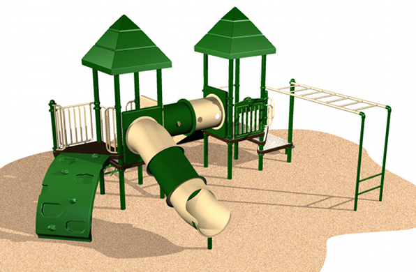 Shaded Climb and Crawl Playground system with various play activities for children
