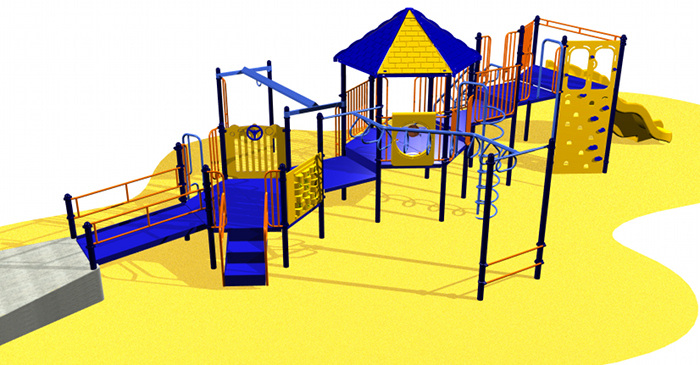 Diverse blue playground system for kids
