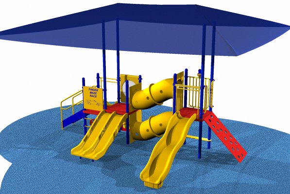 ADA Compliant Playground system with various play activities for children