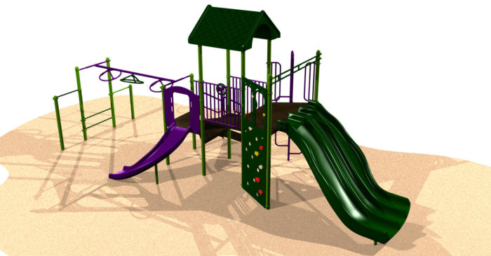 A medium sized playground system with a climbing wall and triple slides