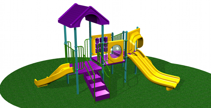 Compact Commercial Playground with Slides