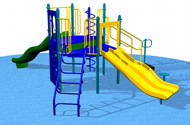 This playground contains 5 elevated play events and an ADA transfer module!