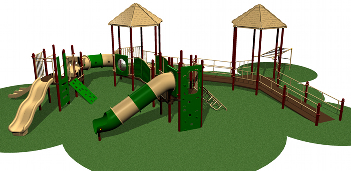 Structured Playground system with various climb and play activities