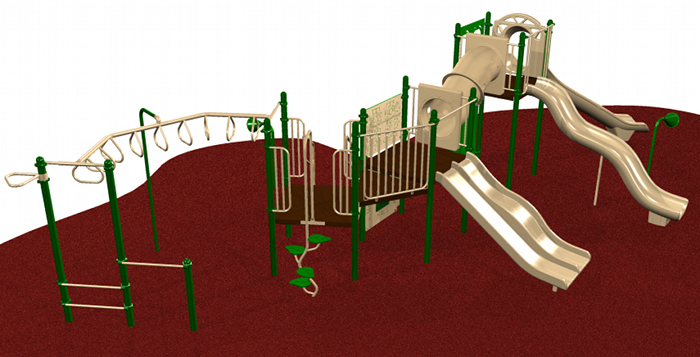 A playground system with ADA compliant transfer modules