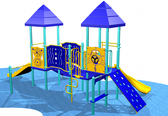 Blue and yellow toddler pilot themed playground