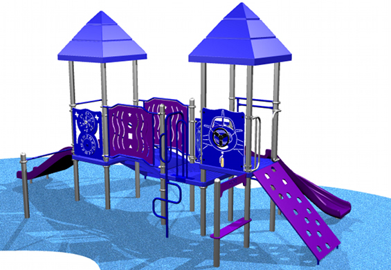 Blue and purple toddler pilot themed playground