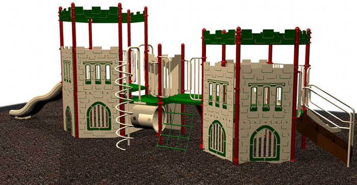 backview of kids playground castle set