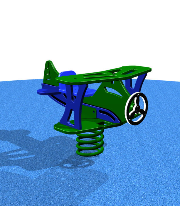 Green airplane spring rider for kids