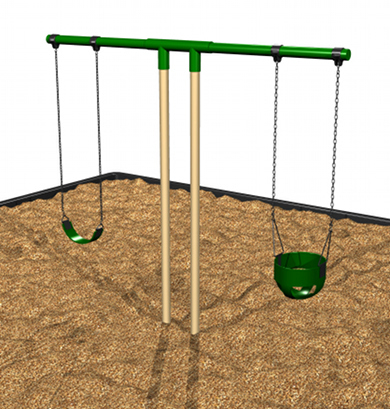 Steel T-Swing Set from Kidstuff Playsystems