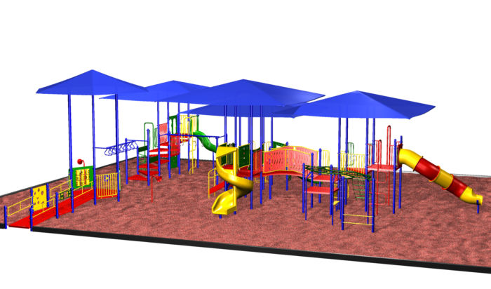 Playground Set with built-in Sun Shade