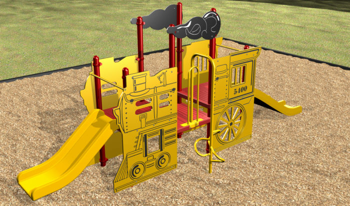 Our Locomotive playground for ages 2-5 has a wheelchair transfer!