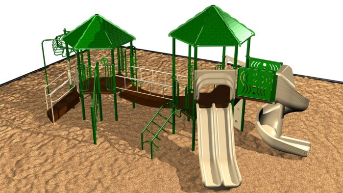 A medium playground system with challenging events and 2 shaded canopies