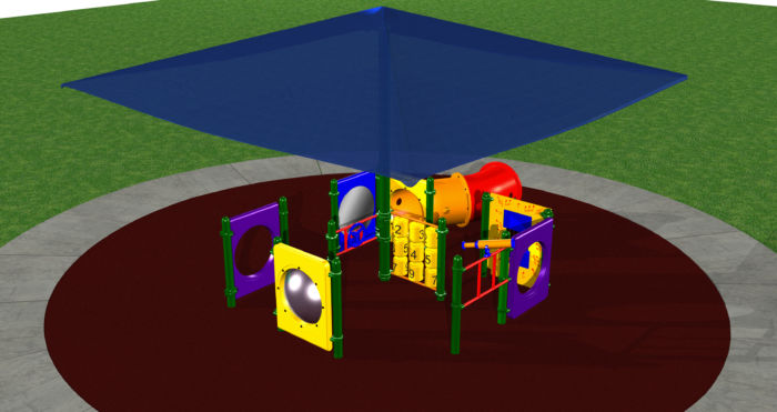 Ground Playground system with shaded play activities for kids