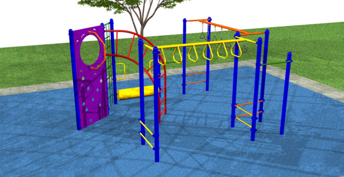 A small fitness oriented playground system focused on building strong muscles