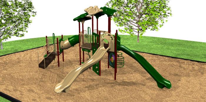 A economical playground system with 2 slides