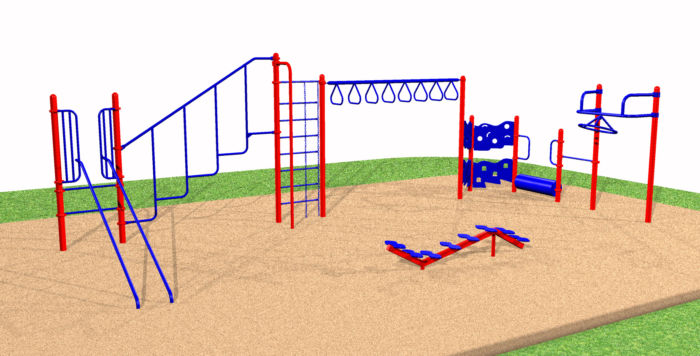 A small playground system with a climbing wall