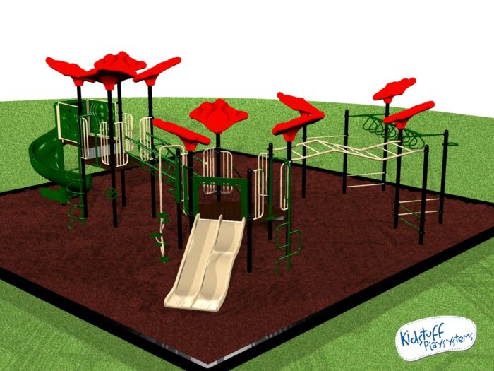 Playground system with upper body activities for kids