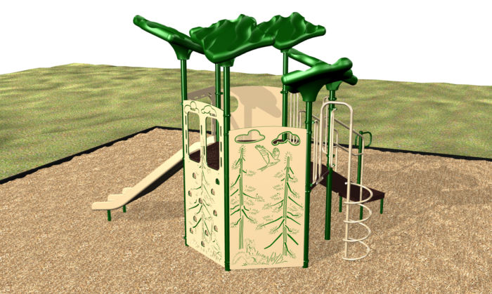Our Forest Retreat Playset has a double slide and leaf shades.