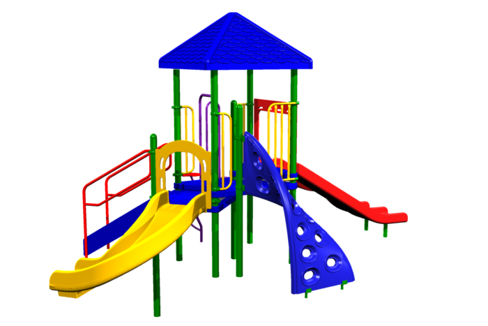 Our shaded playset has two slides and two climbers!