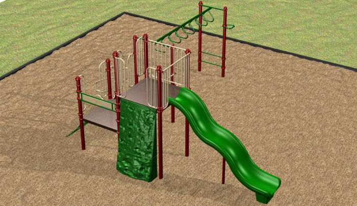 A small playground system with plenty of fun activities