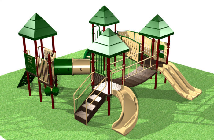 Large Preschool Playground system with multiple play activities for kids