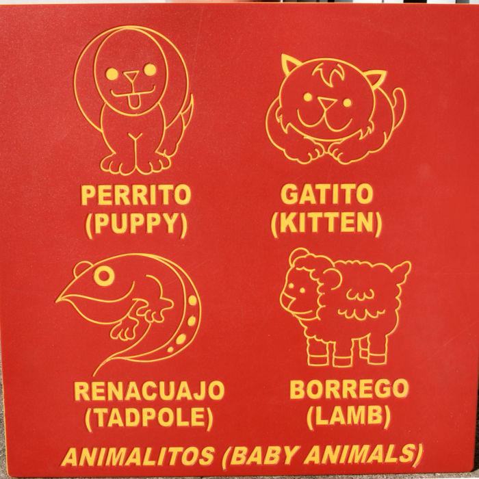 English to Spanish Animal Playground Panel