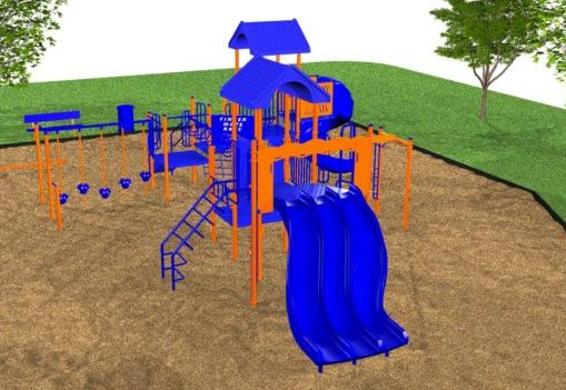 An impressive playground system with a tri-ride slide!
