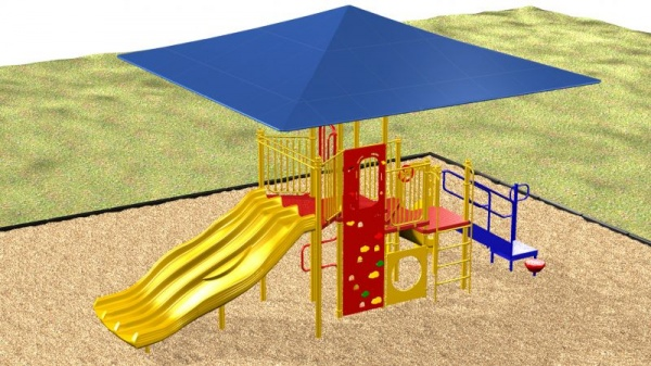 Canopied Playground system with various activities for kids