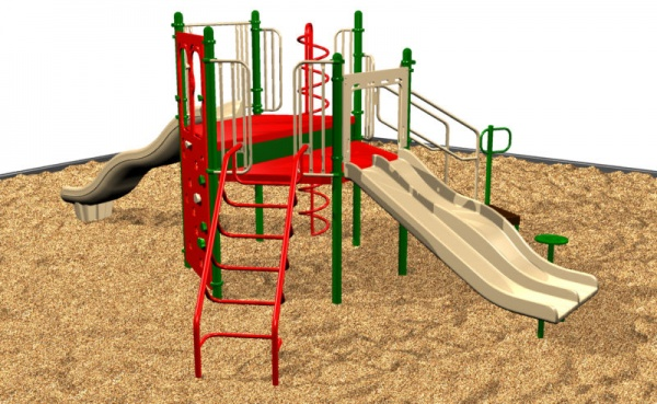 A small plyground system with plenty of fun activities