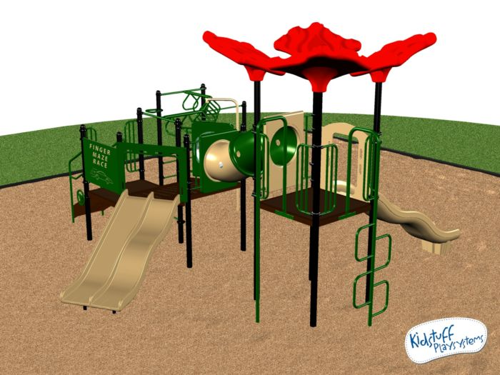 A medium playground system with a wheelchair transfer module