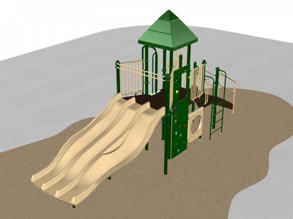 Green Playground system with various activities for kids
