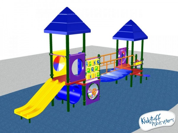 Colorful Playground system with 10 play activities for kids