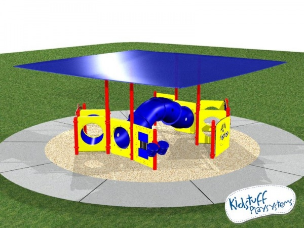 Shaded ground-based playground system with various activities for kids