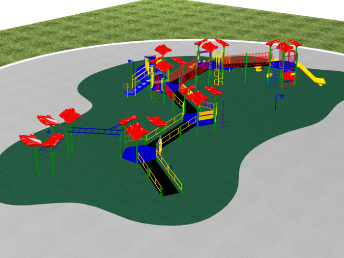 large kids playground aerial view