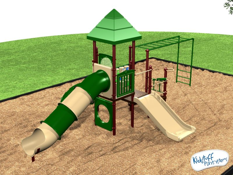 green and tan playground for kids with slide