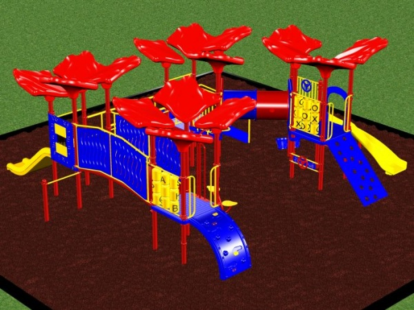 Preschool Playground system with various play events for kids